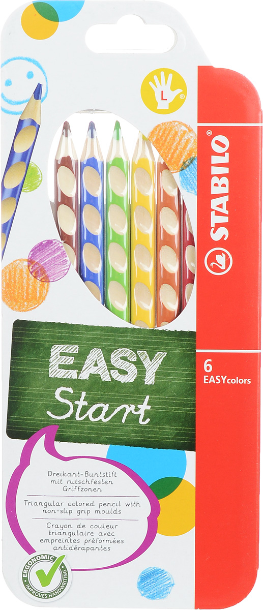 Stabilo Набор цветных карандашей Easycolors для левшей 6 шт331/6_вид2Преимущества карандашей Stabilo Easycolors.Специальные углубления на корпусе карандаша подсказывают ребенку как располагать большой и указательный пальцы, прививая первоначальный навык правильно держать пишущий инструмент.Расположение углублений по всей длине корпуса обеспечивает правильное удержание карандаша ребенком при письме и рисовании даже после заточки карандаша.С течением времени навык автоматически закрепляется в памяти ребенка, позволяя ему быстрее и легче адаптироваться к процессу обучения письму, освоить правильную технику письма и сделать письмо красивым и быстрым. Создают максимальный комфорт для ребенка - трехгранная форма карандаша соответствует естественному захвату руки, уменьшая мышечные усилия, необходимые для его удержания, - ребенок может рисовать длительное время без ощущения усталости. Утолщенная форма корпуса облегчает удержание карандашей детьми с недостаточно развитой мелкой моторикой руки. Карандаши разработаны с учетом особенностей строения руки ребенка и имеют две версии: для правшей и для левшей, обеспечивая им одинаково комфортное письмо. Рекомендуются в начале обучения рисованию и письму. Мягкий грифель легко рисует на бумаге, не царапая ее и не крошась, и оставляет яркий след без каких-либо усилий.Утолщенный грифель диаметром 4,5 мм не нуждается в постоянном затачивании, так как имеет повышенную стойкость к поломкам. Каждый карандаш можно подписать.Карандаши являются обладателями Европейского сертификата качества (маркировка на корпусе СЕ), что подтверждает их высочайшее качество и безопасность для здоровья.