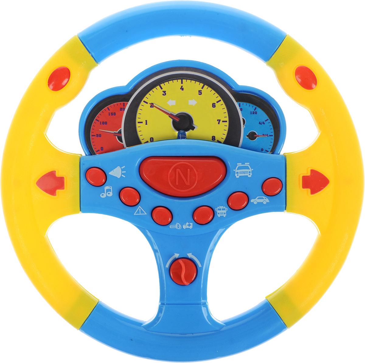 ABtoys Игрушечный музыкальный руль цвет голубой желтый abtoys игрушечный музыкальный руль цвет черный желтый красный