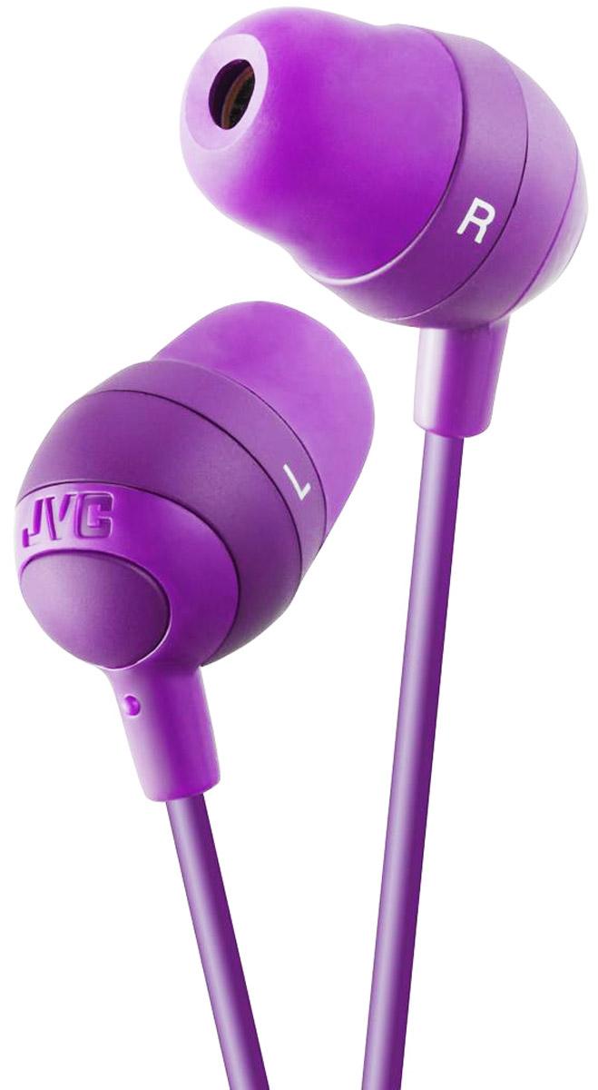 JVC Marshmallow HA-FX32-V, Purple наушникиHA-FX32-VНаушники JVC Marshmallow HA-FX32-V овальной формы из мягкой резины обеспечивают комфортное и удобное прилегание. Благодаря неодимовому магниту, используемому в 11 мм драйверах, вы получаете качественное звучание. Наушники имеют кабель длиной 1.2 м с позолоченный штекером, также совместимым с iPhone.