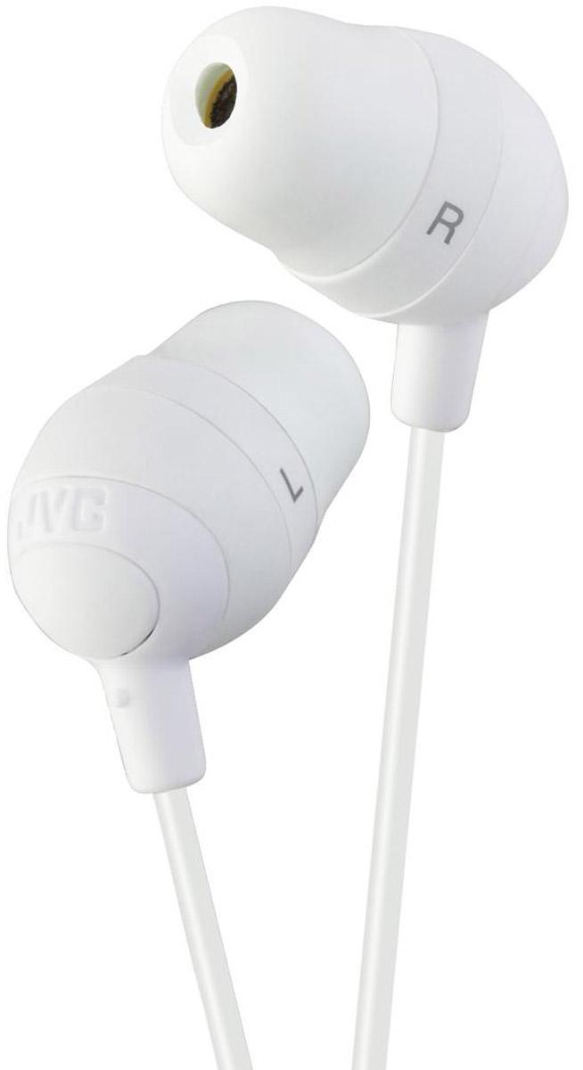 JVC Marshmallow HA-FX32-W, White наушникиHA-FX32-WНаушники JVC Marshmallow HA-FX32-W овальной формы из мягкой резины обеспечивают комфортное и удобное прилегание. Благодаря неодимовому магниту, используемому в 11 мм драйверах, вы получаете качественное звучание. Наушники имеют кабель длиной 1.2 м с позолоченный штекером, также совместимым с iPhone.