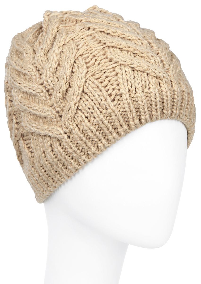 Шапка женская Sela, цвет: бежевый. HAk-141/019W-6404. Размер 56/58HAk-141/019W-6404Вязаная женская шапка Sela выполнена акрила с добавлением шерсти, отлично подойдет для модниц в холодное время года. Она мягкая и приятная на ощупь, обладает хорошими дышащими свойствами и максимально удерживает тепло. Внутри - флисовая подкладка.Изделие оформлено крупным вязаным узором.Такой стильный и теплый аксессуар подчеркнет ваш образ и индивидуальность. Уважаемые клиенты!Размер, доступный для заказа, является обхватом головы.