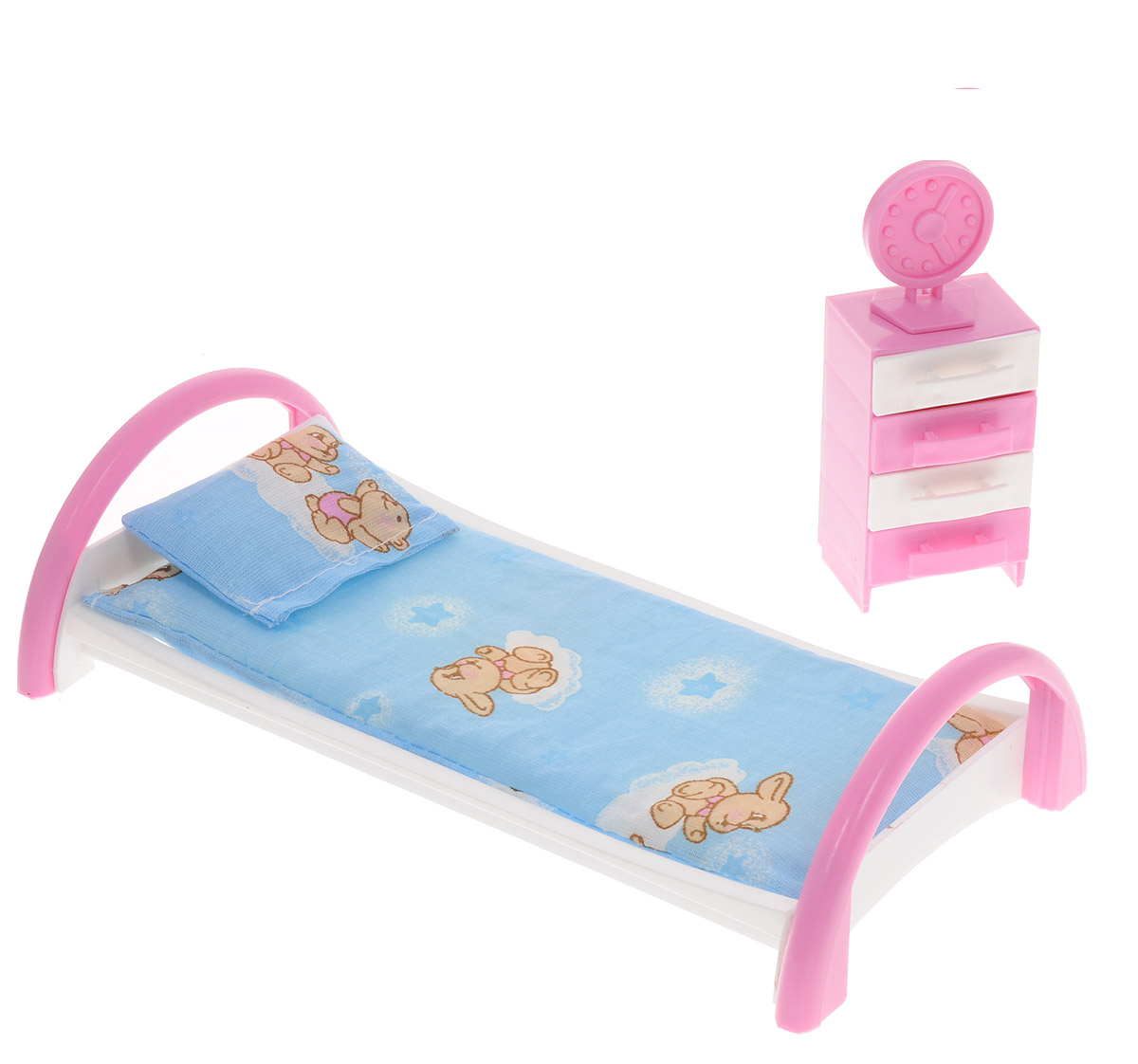 Форма Набор мебели для кукол Кровать с тумбочкой цвет голубой