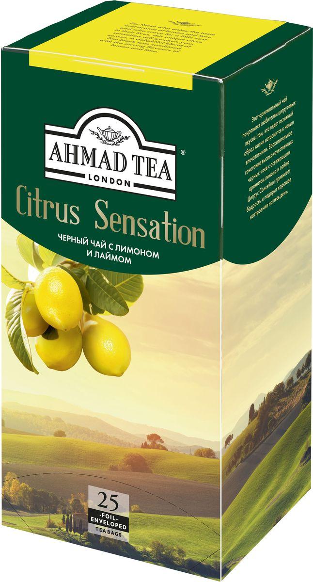 Ahmad Tea Citrus Sensation черный чай в пакетиках, 25 шт1652Этот оригинальный чай понравится любителям цитрусовых вкусов: тем, кто ведет активный образ жизни и стремится к новым впечатлениям. Восхитительное сочетание высококачественных черных чаев с освежающим ароматом лимона и лайма Цитрус Сенсейшн привнесет бодрость и подарит хорошее настроение на весь день.