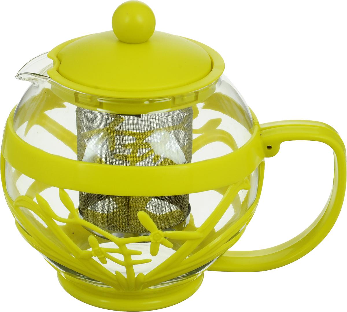 Чайник заварочный Menu Мелисса, с фильтром, цвет: прозрачный, салатовый, 750 млMLS-75_прозрачный, салатовыйЧайник Menu Мелисса изготовлен из прочного стекла и пластика. Он прекрасно подойдет для заваривания чая и травяных напитков. Классический стиль и оптимальный объем делают его удобным и оригинальным аксессуаром. Изделие имеет удлиненный металлический фильтр, который обеспечивает высокое качество фильтрации напитка и позволяет заварить чай даже при небольшом уровне воды. Ручка чайника не нагревается и обеспечивает безопасность использования.Нельзя мыть в посудомоечной машине.Диаметр чайника (по верхнему краю): 8 см. Высота чайника (без учета крышки): 11 см. Размер фильтра: 6 х 6 х 7,2 см.