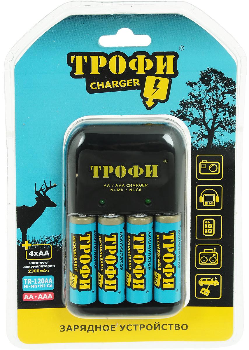 Устройство зарядное Трофи  TR-120 АA  + 4 HR6 2300mAh (6/24/576) - Батарейки и аккумуляторы