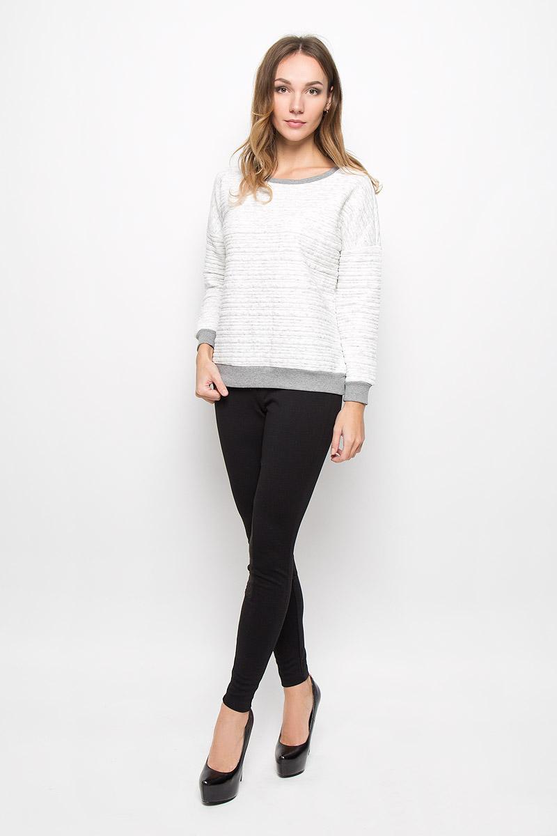 Свитшот женский Broadway Bea, цвет: белый, серый. 10156676. Размер XL (50)