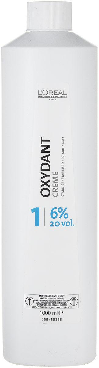 LOreal Professionnel Крем-оксидент 6% Oxydant-Cream, 1000 млE0915900Средство Оксидент разработано специально для применения в комплексе с крем-краской. Оно дает возможность осуществить окрашивание без какого-либо вреда для структуры волос. Результатом этого окажется получение более яркого и стойкого цвета.Подобный эффект возможен исключительно благодаря микрокатионному полимеру Ионен G, обеспечивающему неповторимой равномерное распределение окраски и протекцию волос не только изнутри, но еще и снаружи.Благодаря восковой основе, происходит бережное окутывание каждого волоска протекционным слоем, именно он препятствует влиянию отрицательных факторов окружающей среды и положительно влияет на стойкость и удержание оттенка.