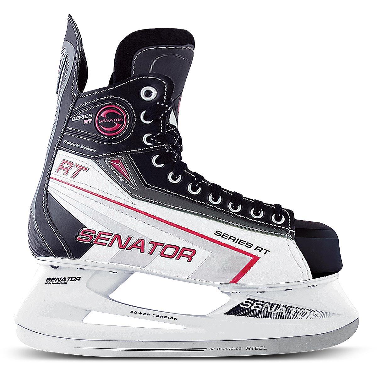 Коньки хоккейные для мальчика СК Senator RT, цвет: черный, белый. Размер 35