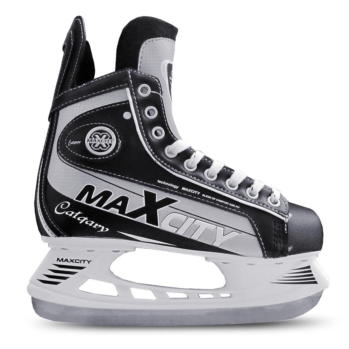 Коньки хоккейные мужские MaxCity Calgary, цвет: черный, серый. Размер 45 коньки maxcity caribo combo girl 30 33 pink