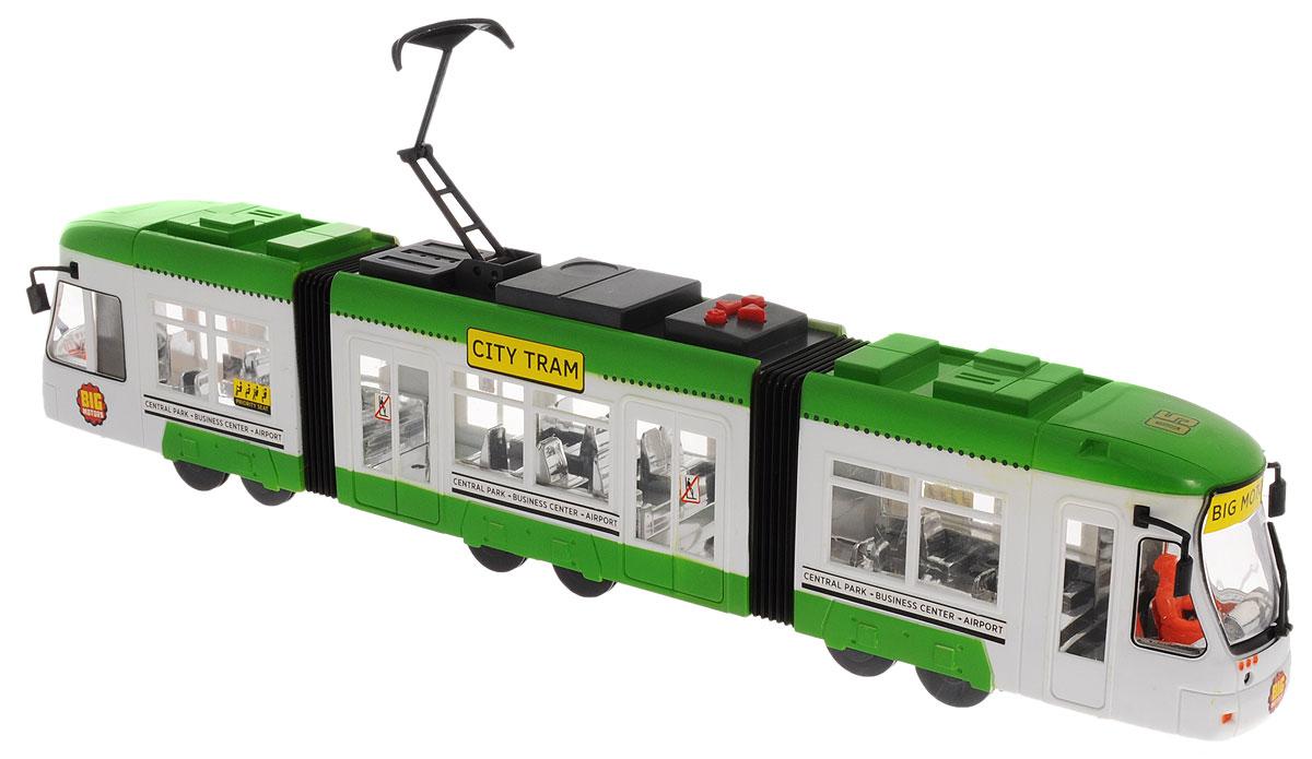 Big Motors Городской трамвай цвет зеленый белый конструкторы игрушки из дерева трамвай