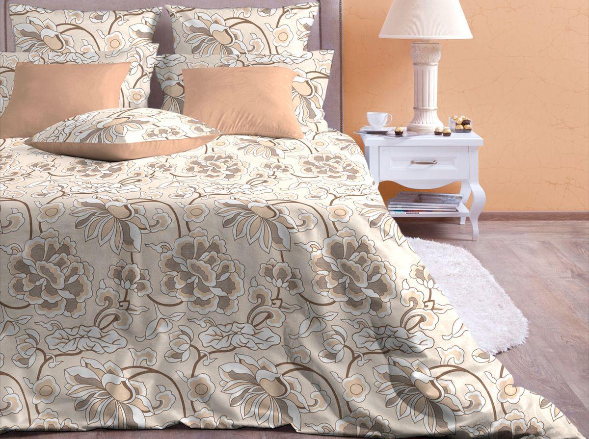 Комплект белья Хлопковый Край Лотос, 2-спальный, наволочки 70x70, цвет: бежевый полуторный комплект белья хлопковый край винтаж 1 поплин 1 5