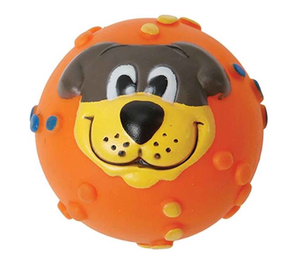 Игрушка для собак Каскад Мячик с мордочкой, с пищалкой, цвет: оранжевый, диаметр 7 см игрушка для животных каскад удочка с пауком и перьями длина 58 5 см