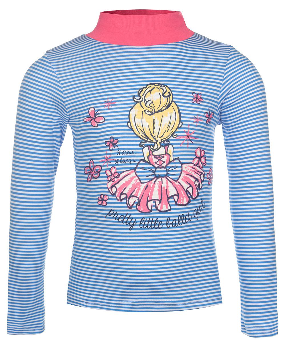 Водолазка для девочки M&D, цвет: голубой, белый, розовый. WJO26024M3. Размер 122WJO26024M-23Яркая водолазка для девочки M&D идеально подойдет вашей маленькой моднице. Модель изготовлена из натурального хлопка, не сковывает движения ребенка и позволяет коже дышать, обеспечивая комфорт. Изнаночная сторона изделия необычайно мягкая и тактильно приятная. Водолазка с воротником-стойкой и длинными рукавами. Воротник выполнен из трикотажной резинки. Модель оформлена ярким принтом в полоску и изображением девочки с надписями на английском языке.Современный дизайн и расцветка делают эту водолазку модным и стильным предметом детского гардероба. В ней ваш ребенок будет чувствовать себя уютно, комфортно и всегда будет в центре внимания!