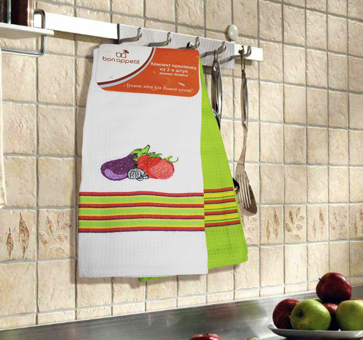 Набор кухонных полотенец Bon Appetit Vegetables, цвет: зеленый, 2 шт64861Кухонные полотенца Bon Appetit Vegetables - в помощь хозяйке на кухне! Кухонные полотенца Bon Appetit Vegetables идеально дополнят интерьер вашей кухни и создадут атмосферу уюта и комфорта. Полотенца выполнены из натурального 100% хлопка, поэтому являются экологически чистыми. Качество материала гарантирует безопасность не только взрослых, но и самых маленьких членов семьи.