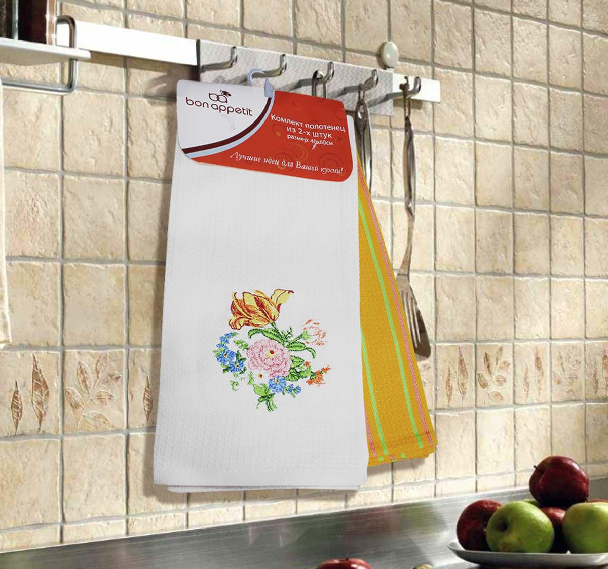 Набор кухонных полотенец Bon Appetit Peony, цвет: белый, желтый, 2 шт64863Кухонные полотенца Bon Appetit Peony - в помощь хозяйке на кухне! Кухонные полотенца Bon Appetit Peony идеально дополнят интерьер вашей кухни и создадут атмосферу уюта и комфорта. Полотенца выполнены из натурального 100% хлопка, поэтому являются экологически чистыми. Качество материала гарантирует безопасность не только взрослых, но и самых маленьких членов семьи.
