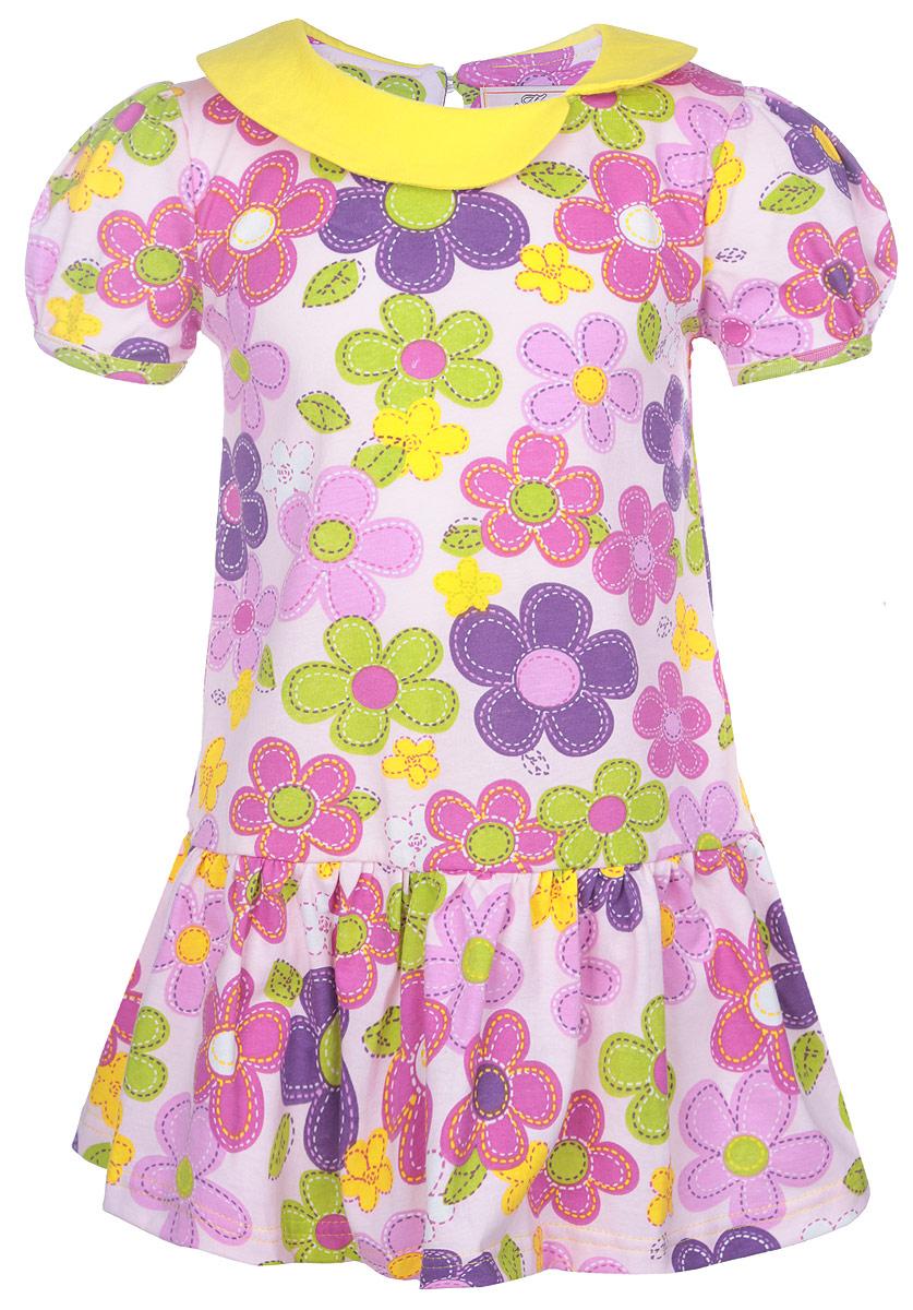 Платье для девочки M&D, цвет: светло-розовый, цветочный узор. SSD261046. Размер 98SSD261046-77Яркое платье для девочки M&D отлично подойдет маленькой моднице. Выполненное из натурального хлопка, оно легкое и воздушное, приятное на ощупь, не сковывает движения и хорошо вентилируется.Платье с круглым вырезом горловины и рукавами-фонариками застегивается сзади на небольшую жемчужную пуговичку, что помогает при переодевании ребенка. Модель оформлена нежным цветочным принтом. Горловина дополнена оригинальным воротничком. Ниже линии талии заложены частые складочки, которые придают изделию воздушность.Современный дизайн и яркая расцветка делают это платье стильным предметом детской одежды. В нем маленькая принцесса всегда будет в центре внимания.