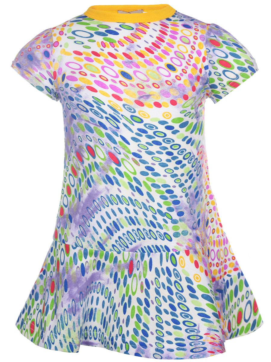 Платье для девочки M&D, цвет: мультиколор. SSD260111. Размер 92SSD260111-77Очаровательное платье для девочки M&D идеально подойдет вашей малышке. Платье выполнено из эластичного хлопка, оно необычайно мягкое и приятное на ощупь, не сковывает движения и позволяет коже дышать, не раздражает даже самую нежную и чувствительную кожу ребенка, обеспечивая наибольший комфорт.Платье с круглым вырезом горловины и короткими рукавами-фонарикамине имеет застежек. Горловина оформлена эластичной трикотажной резинкой, что позволяет свободно надевать и снимать изделие. Модель выполнена ярким контрастным принтом.Современный дизайн и яркая расцветка делают это платье стильным предметом детской одежды. В нем маленькая принцесса всегда будет в центре внимания.