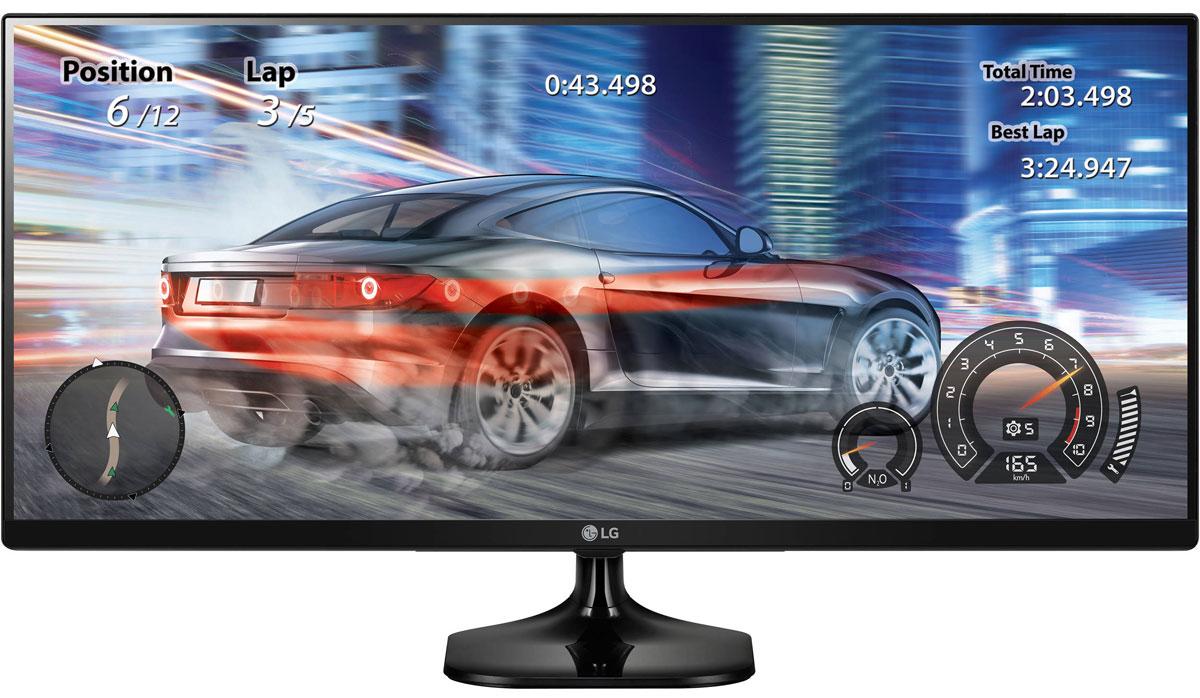 LG 25UM58-P, Black монитор25UM58-PМонитор LG 25UM58-P оснащен широким экраном формата 21:9, он позволяет по-настоящему окунуться в происходящее на экране благодаря более широкому обзору. Использование качественной IPS матрицы гарантирует отсутствие цветовых искажений.Предустановленные режимы изображения - Режим Игра, Режим FPS и Режим RTS - помогают оптимально настроить изображение на экране, исходя из специфики игрового жанра. Быстрое переключение между игровыми режимами доступно из меню Quick Circle.Функция Стабилизатор черного поможет улучшить видимость даже в самых темных игровых сценах. Дополнительно технология Dynamic Action Sync позволяет сделать игровой процесс более динамичным и захватывающим, минимизируя лаги и задержки вывода сигнала.Использование IPS матрицы и поддержка >99% цветового поля sRGB позволяет минимизировать возможные цветовые потери для максимально эффективной работы с графикой и фото.Функция Экранного меню облегчит настройку монитора, позволяя использовать для конфигурации настроек вместо физических кнопок обычную мышь. Предустановленные режимы изображения помогут быстро переключиться между режимами изображения, а также настроить специфический режим для выбранного программного обеспечения.
