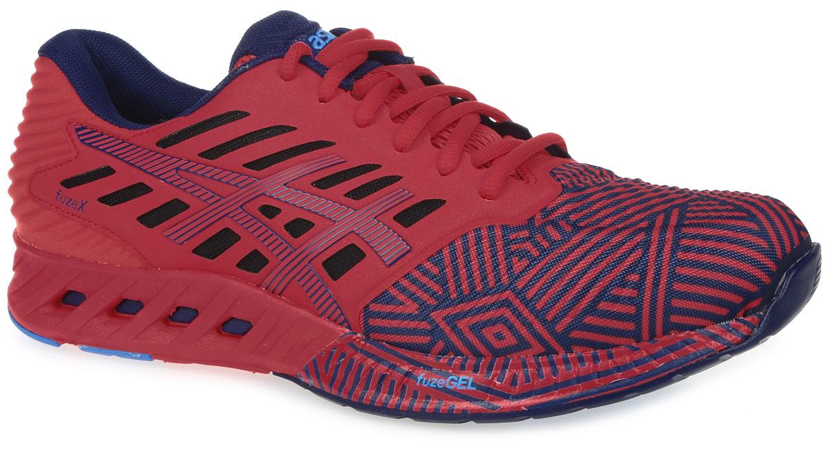Кроссовки для бега мужские Asics Fuzex, цвет: красный, темно-синий. T6K3N-2349. Размер 8 (40)T6K3N-2349В кроссовках Fuzex от Asics сочетаются малый вес с защитой и амортизацией. Модель выполнена из текстиля и дополнена накладками из ПВХ. Внутренняя поверхность из текстиля не натирает. Стелька из материала ЭВА с текстильной поверхностью комфортна при движении. Классическая шнуровка надежно зафиксирует изделие на ноге. Промежуточная подошва fuzeGEL равномерно распределяет вес и позволяет преодолевать и длинные дистанции. Благодаря опущенной на 8 мм пятке вы сможете прочувствовать рельеф поверхности. Уплотненный задник и боковые накладки обеспечивают поддержку стопы. Рифление на подошве обеспечивает отличное сцепление с любой поверхностью.