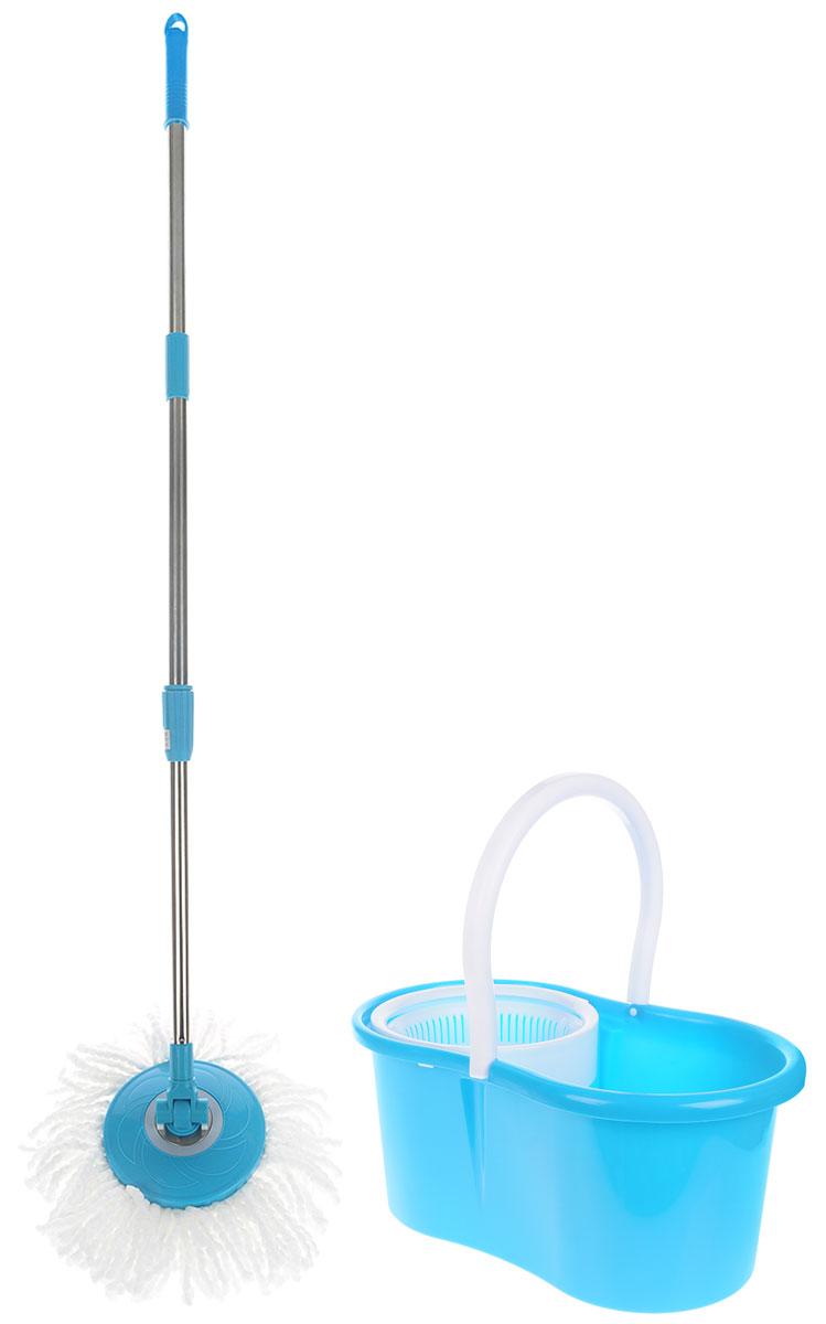 Швабра-вертушка Bradex Торнадо Хенди, цвет: бирюзовый, белый, стальнойTD 0220_бирюзовый, белыйШвабра для пола Торнадо обладает крутящейся насадкой из микрофибры, обеспечивающей отличное впитывание грязи и жидкости во время уборки. Благодаря специальному ведру со встроенной центрифугой, уборка станет быстрой и гигиеничной, так как Вы сможете выжимать швабру в предназначенном для этого ведре, не пачкая руки При необходимости любую насадку можно стирать с помощью стиральной машины, а лёгкий вес и телескопическая ручка Торнадо делают швабру удобной в эксплуатации.Комплектация: швабра, 2 насадки из микрофибры, ведро, инструкция. Объём ведра: 5 л. Материал: пластик, металл, микрофибра. Тип отжима: механический. Вес: 1,08 кг.Размер: 45 х 30 х 28,5 см.