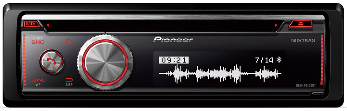 Pioneer DEH-X8700BT автомобильный ресивер1023132Pioneer DEH-X8700BT позволит осуществлять управление iPod, iPhone и Android смартфоном при воспроизведении музыки и многое другое.Данная модель позволяет подключить множество цифровых источников через Aux-вход на передней панели или через USB порт на задней панели. Есть возможность скачивать любимую музыку, используя беспроводные технологии подключения по Bluetooth.Кроме того, с Pioneer DEH-X8700BT можно слушать музыку с CD, или настроиться на станции FM радио. Что бы вы не воспроизводили, встроенный стерео усилитель мощности MOSFET (4 x 50Вт) предложит вам кристально чистый звук. А чтобы усилить звук подключите дополнительный усилитель или сабвуфер через 3 RCA выхода предусислителя.