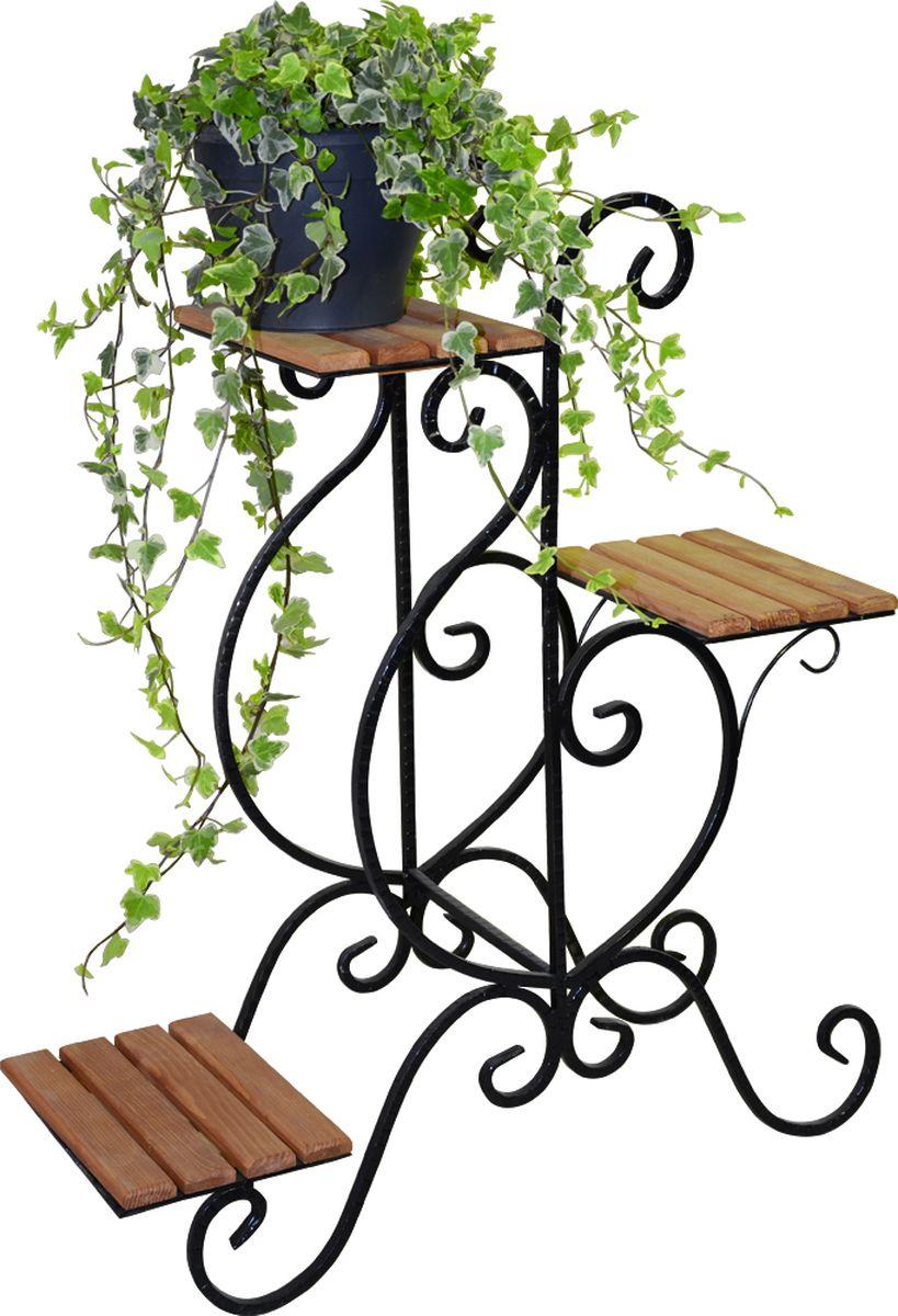 Подставка для цветов Фабрика ковки, на 3 цветка, цвет: черный, коричневый. 59-73359-733Подставка Фабрика ковки предназначена для размещения трех цветочных кашпо, одно размещается на верхнем уровне, два- на нижнем. Подставка выполнена металла, окрашена в черный цвет. Ножки выполнены в виде завитков, на которых расположены подставки, выполненные из дерева.