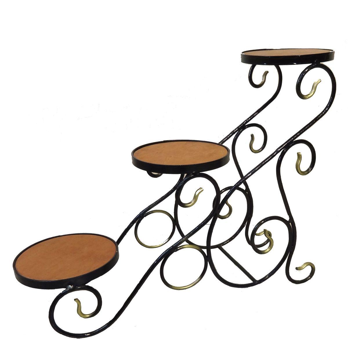 Подставка для цветов  Фабрика ковки , на 3 цветка, цвет: черный, коричневый, золотистый -  Садовый декор
