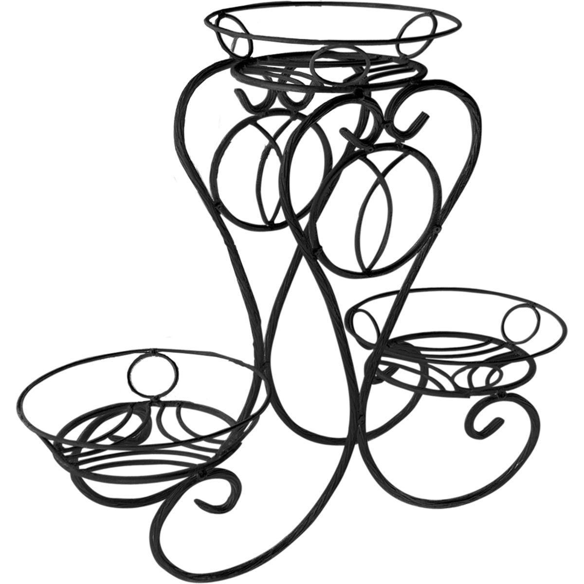 Подставка для цветов Фабрика ковки Лоза, на 3 цветка, цвет: черный. 14-043 B14-043 BПодставка предназначена для размещения трех цветочных кашпо, одно размещается на верхнем уровне, два на нижнем. Подставка выполнена из резного металла, окрашена в черный цвет. Ножки выполнены в виде завитков, на которых расположены подставки, декорированные кольцами. Симметричность подставки не только обеспечивает высокую надежность установки цветков, но и придает ей строгий и презентабельный вид.