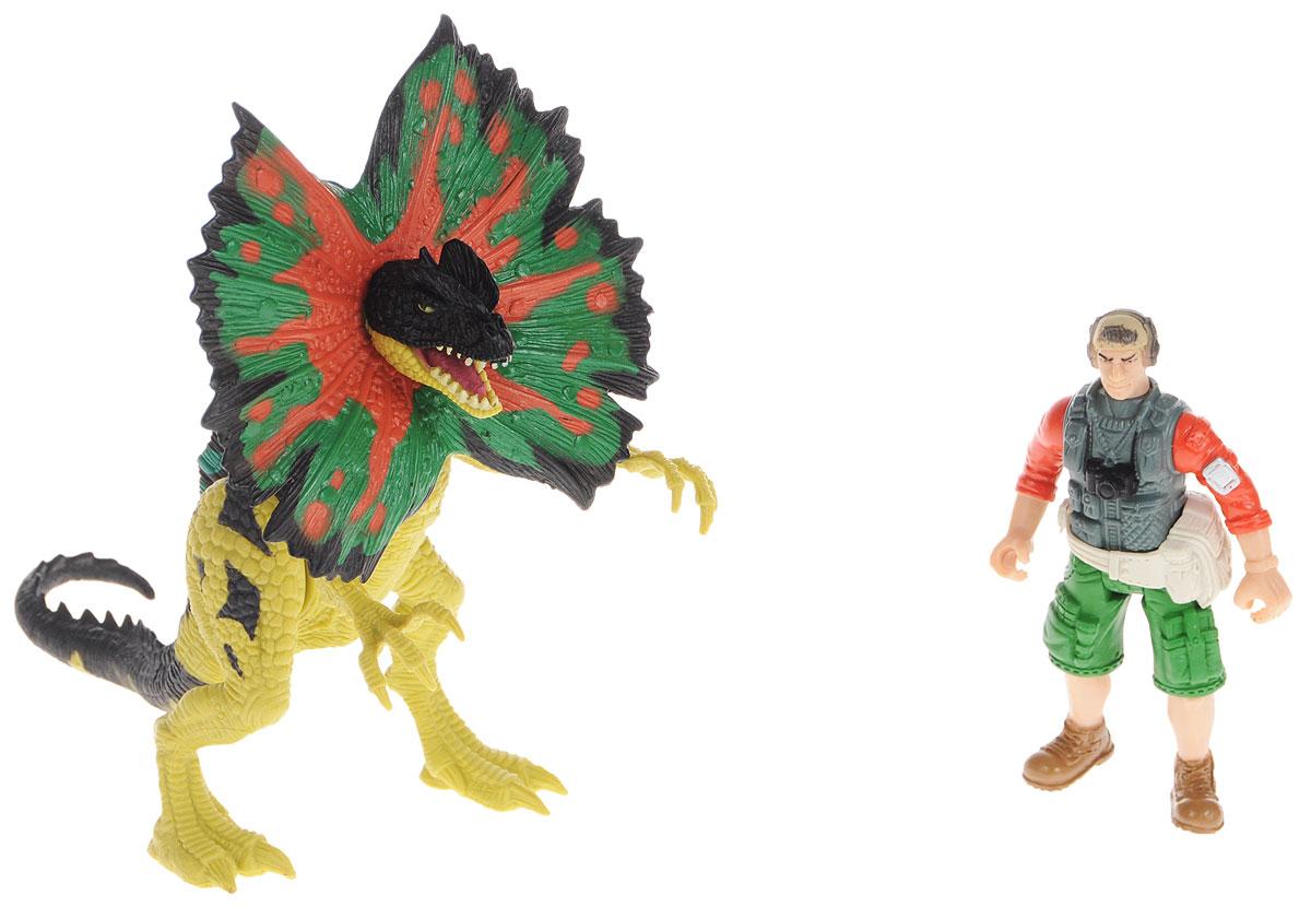 Chap Mei Игровой набор Дилофозавр и охотник со снаряжением восстановительная хирургия верхней конечности