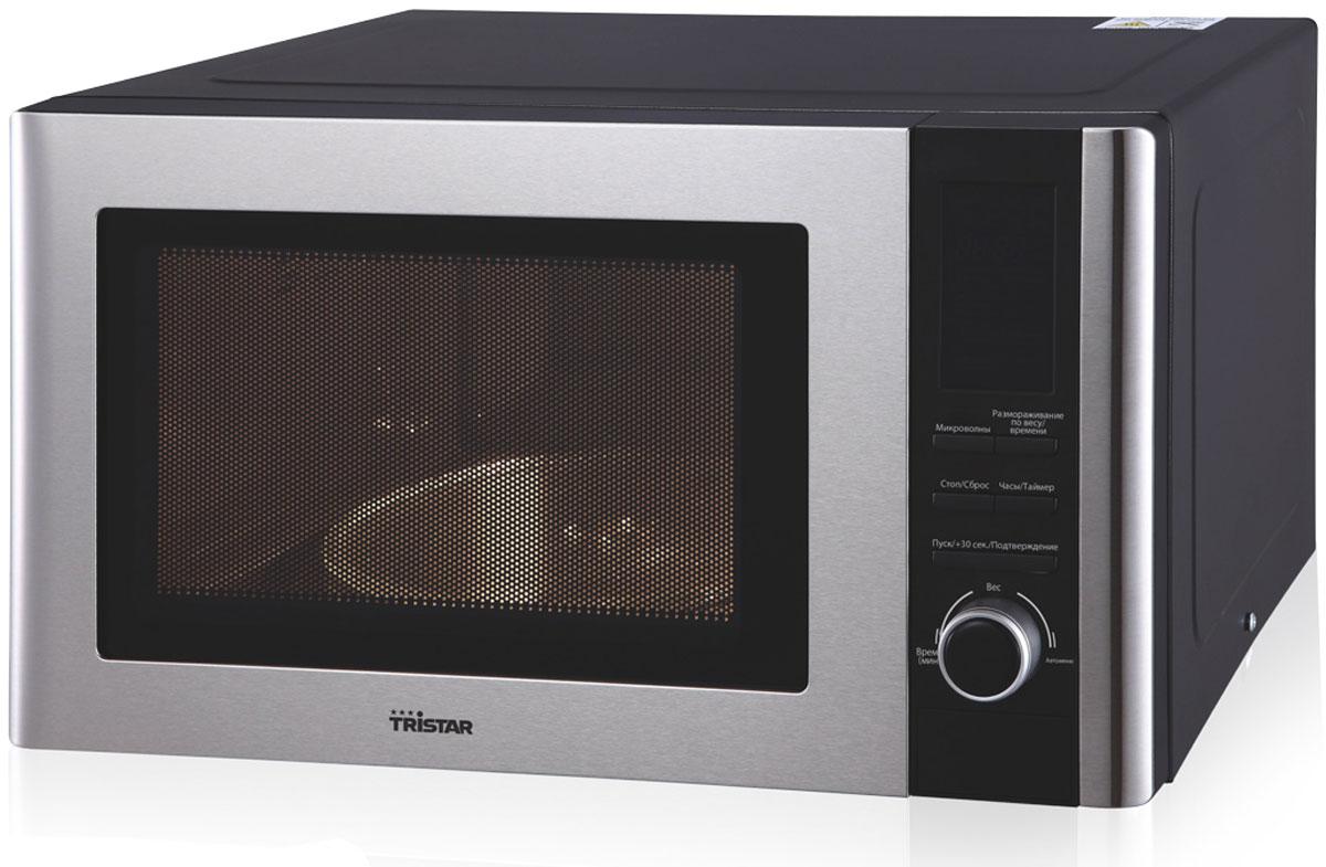 Tristar MW-3406, Black Steel микроволновая печьMW-3406Микроволновая печь Tristar MW-3406 станет прекрасным помощником на вашей кухне. 5 уровней мощностипозволяют менять скорость разогрева блюд. Режим размораживания дает возможность быстро подготовитьзамороженные продукты к приготовлению.Вставка из нержавеющей стали на корпусе и двери делает изделие более практичным и долговечным. Наличиедисплея позволяет следить за временем работы СВЧ, контролируя процесс готовности продуктов. Данная модельотвечает всем требованиям безопасности и станет полезным и функциональным дополнением кухни.Диаметр тарелки: 270 мм Номинальная потребляемая мощность: 1250 Вт Автоменю Режим размораживания по весу и времени