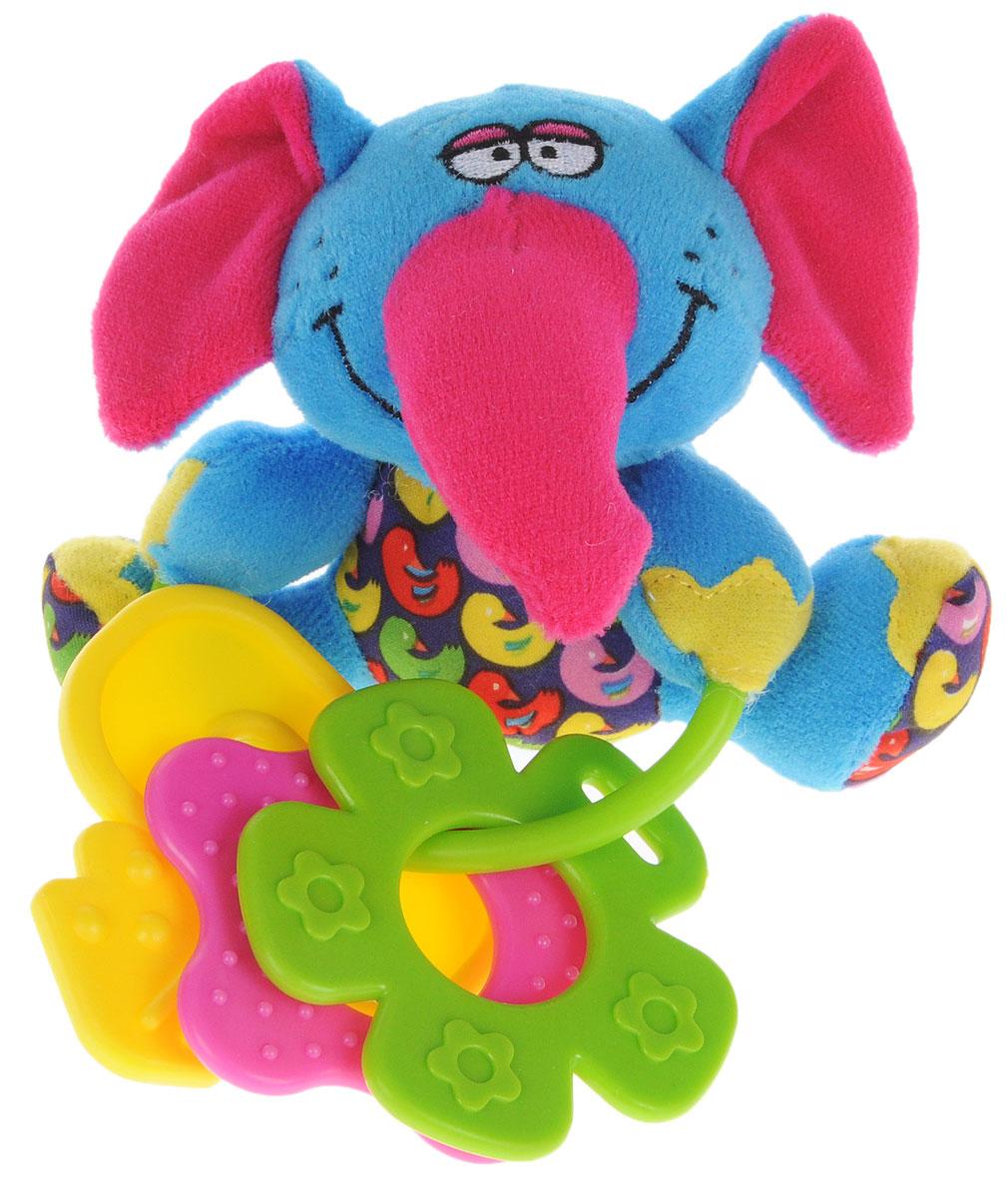 Bondibon Мягкая игрушка-погремушка Слон с прорезывателями