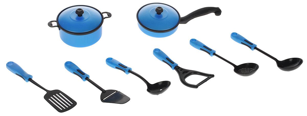 ABtoys Набор кухонный 10 предметов цвет синий набор мебели для гостиной 2 с аксессурами счастливые друзья abtoys