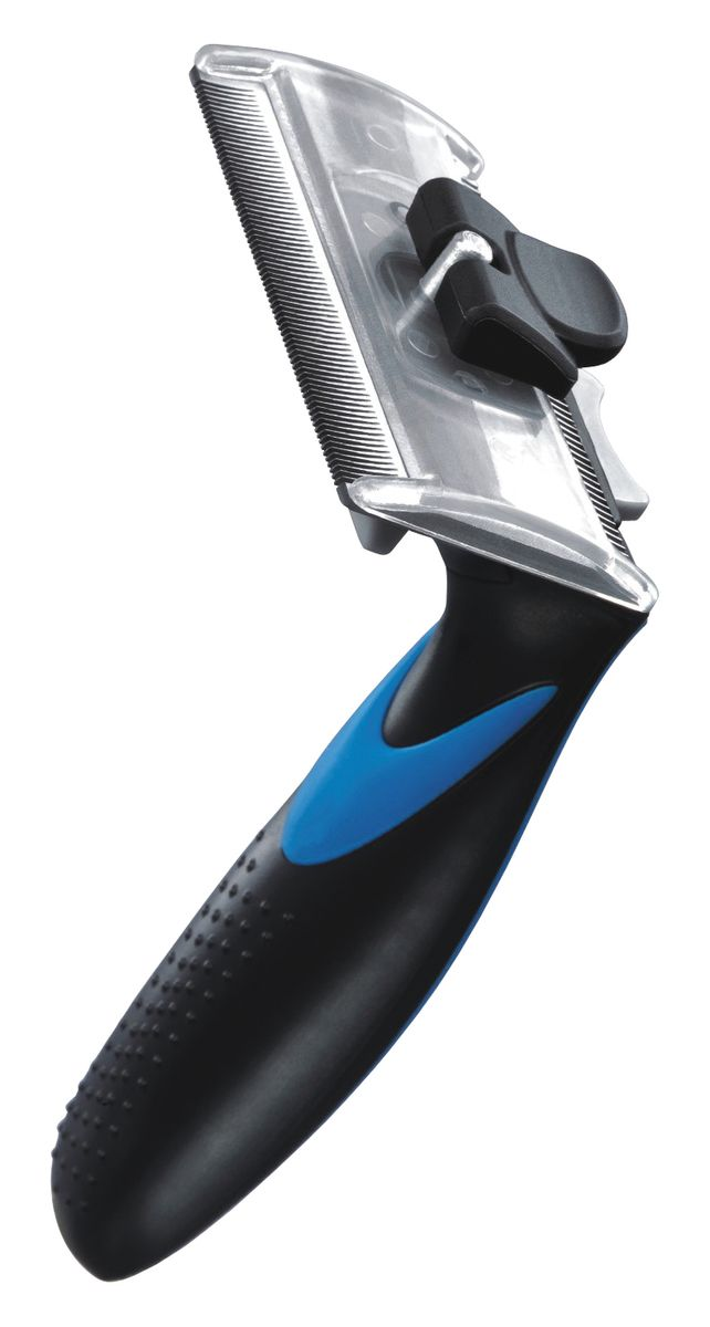 Фурбраш Ziver-411, с двойным ножом, цвет: синий. Размер L50.ZV.003ФУРБРАШ ZIVER-411, Размер L 7,65см (двойной нож)Линька под контролем! Статья OZON Гид