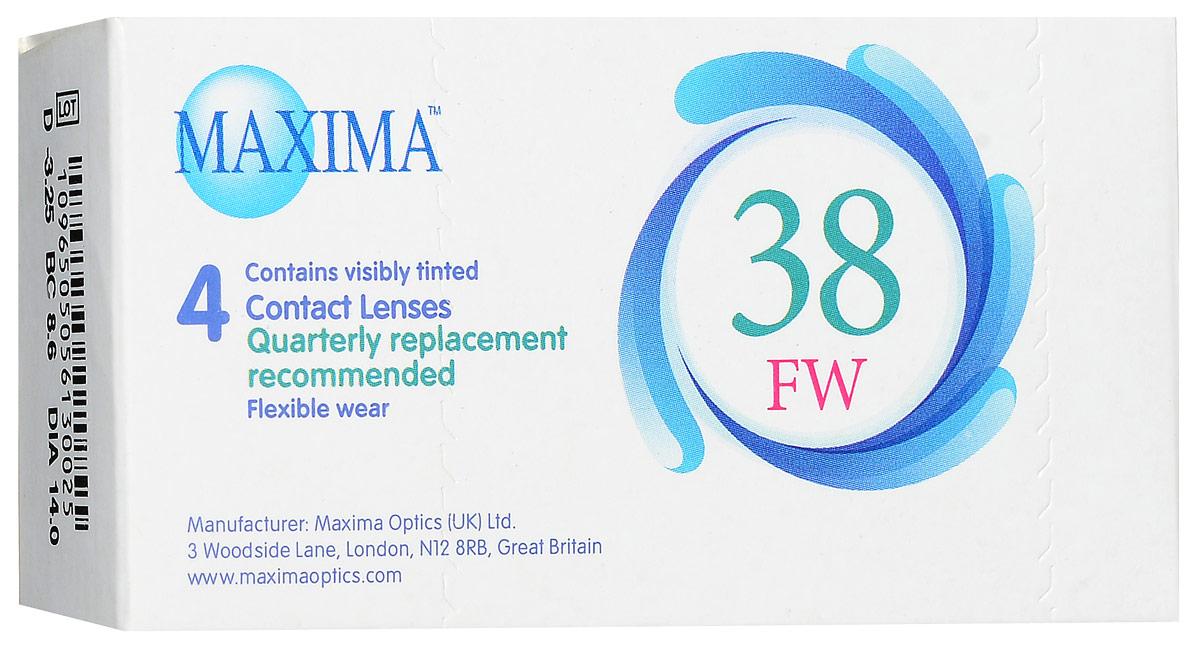 Maxima контактные линзы 38 FW (4 шт / 8.6 / -3.25)12075Линзы квартальной замены Maxima 38 FW обладают отличными клиническими характеристиками в сочетании с доступной ценой. Идеальны для перехода пациентов с традиционных линз к плановой замене. Ровный тонкий профиль края линзы Maxima 38 FW, незначительная толщина в центре обеспечивают комфорт ношения и улучшают кислородную проницаемость к роговице.Замена через 3 месяца. Характеристики:Материал: полимакон. Кривизна: 8.6. Оптическая сила: - 3.25. Содержание воды: 38%. Диаметр: 14 мм. Количество линз: 4 шт. Размер упаковки: 9,5 см х 5 см х 2 см. Производитель: США. Товар сертифицирован.