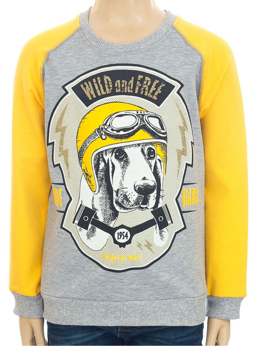 Свитшот для мальчика M&D, цвет: серый меланж, желтый. D202MS. Размер 116D202MS-2Свитшот для мальчика M&D с длинными рукавами-реглан и круглым вырезом горловины выполнен из полиэстера с добавлением хлопка . Изделие украшено крупным принтом с изображением собаки в шлеме с очками и дополнено надписью Wild and Free. Ride Hard..