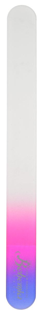 Bohemia Пилочка для ногтей, стеклянная, чехол из замши, цвет: фиолетово-розовый. 1783cz233-1783втм_ фиолетово-розовый
