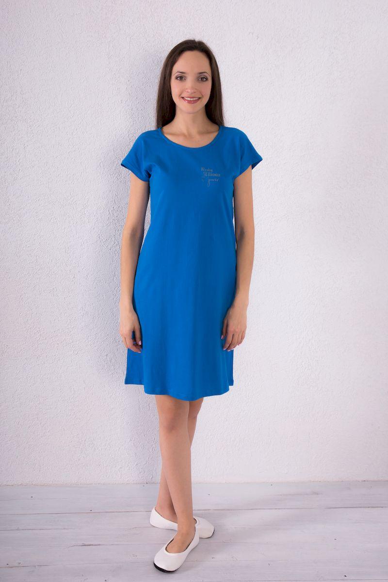 Платье домашнее Violett, цвет: синий. 7117110719. Размер S (44)7117110719Домашнее платье Violett выполнено из натурального хлопка. Платье-миди с круглым вырезом горловины и короткими рукавами оформлено принтовыми надписями.