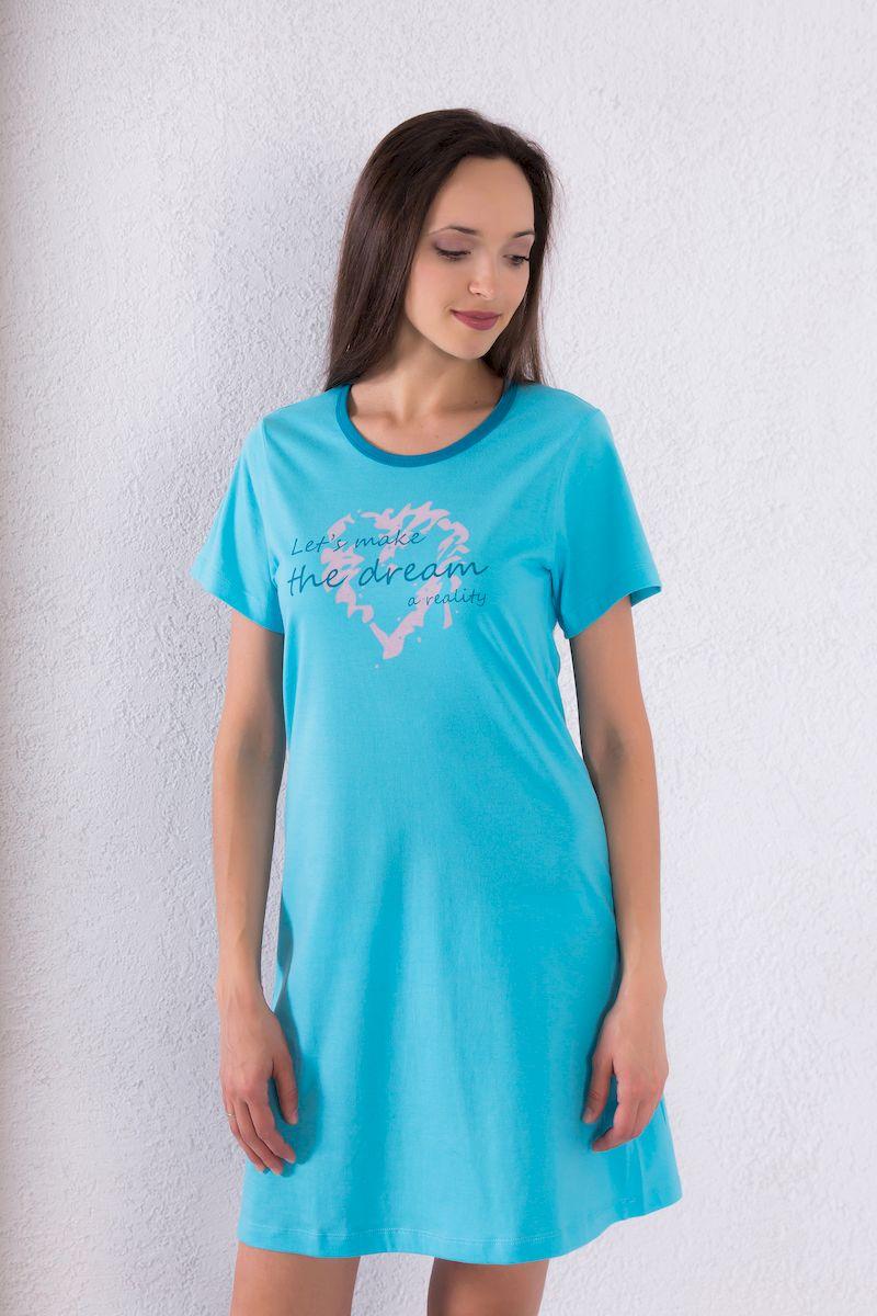 Платье домашнее Violett, цвет: голубой. 7117110706. Размер M (46)7117110706Домашнее платье Violett выполнено из натурального хлопка. Платье-миди свободного кроя с круглым вырезом горловины и короткими рукавами оформлено принтовыми надписями.