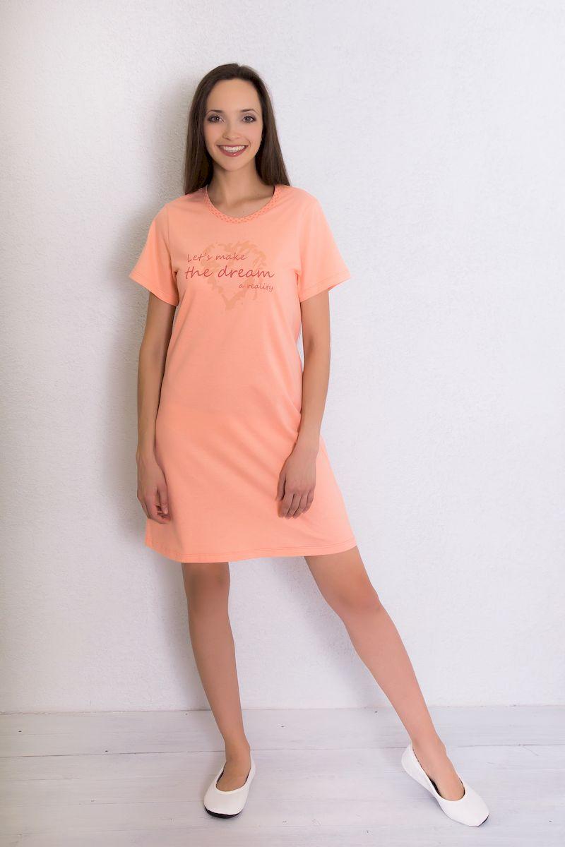 Платье домашнее Violett, цвет: персиковый. 7117110705. Размер L (48) платье домашнее violett цвет лиловый 7117110702 размер l 48