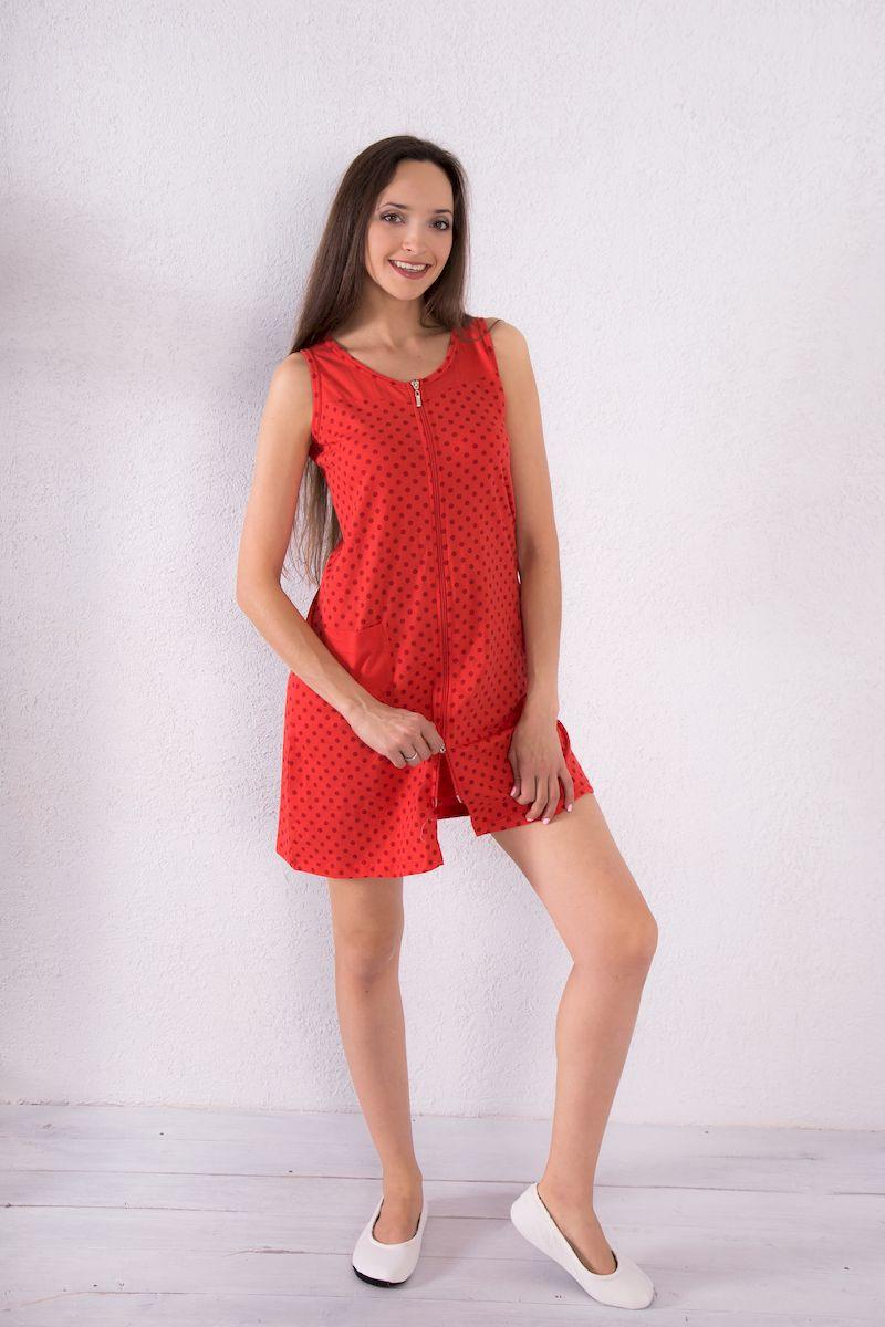 Халат женский Violett, цвет: красный. 7117110122. Размер XL (50)7117110122Женский халат Violett выполнен из натурального хлопка. Халат с круглым вырезом горловины застегивается на застежку-молнию. Спереди расположен один накладной карман. Модель оформлена принтом в горох.