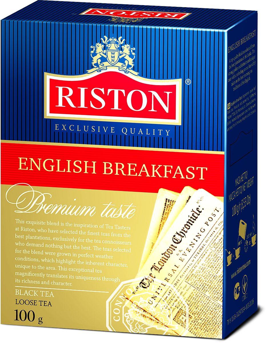 Riston Английский Завтрак ВОР черный листовой чай, 100 г4792156002132Riston Английский Завтрак ВОР - черный чай высшей категории, собранный на лучших плантациях Шри-Ланки. Крепкий настой красного оттенка с золотистым отливом, уникальным вкусом и освежающим ароматом стал непременным атрибутом традиционного английского завтрака.