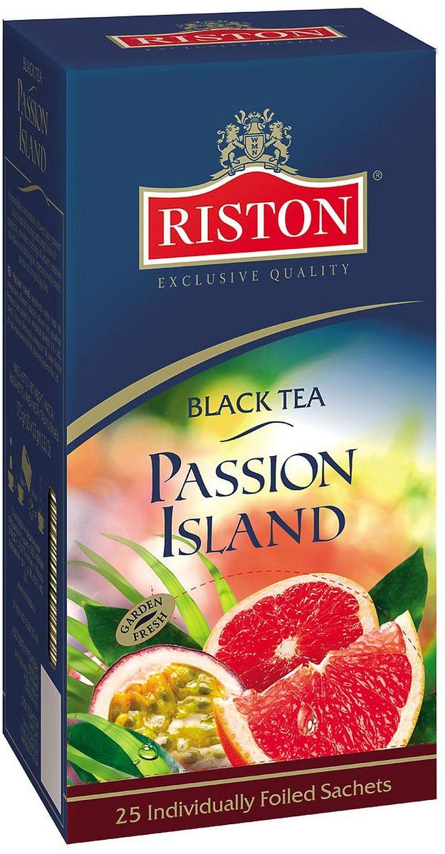 Riston Остров Наслаждений черный чай в пакетиках, 25 шт4792156010533Яркое сочетание соблазнительной маракуйи, нежных оттенков соусепа и освежающих ноток грейпфрута в чае Riston Остров Наслаждений наполнит атмосферу чаепития экзотическими ароматами цветущего тропического сада.Всё о чае: сорта, факты, советы по выбору и употреблению. Статья OZON Гид