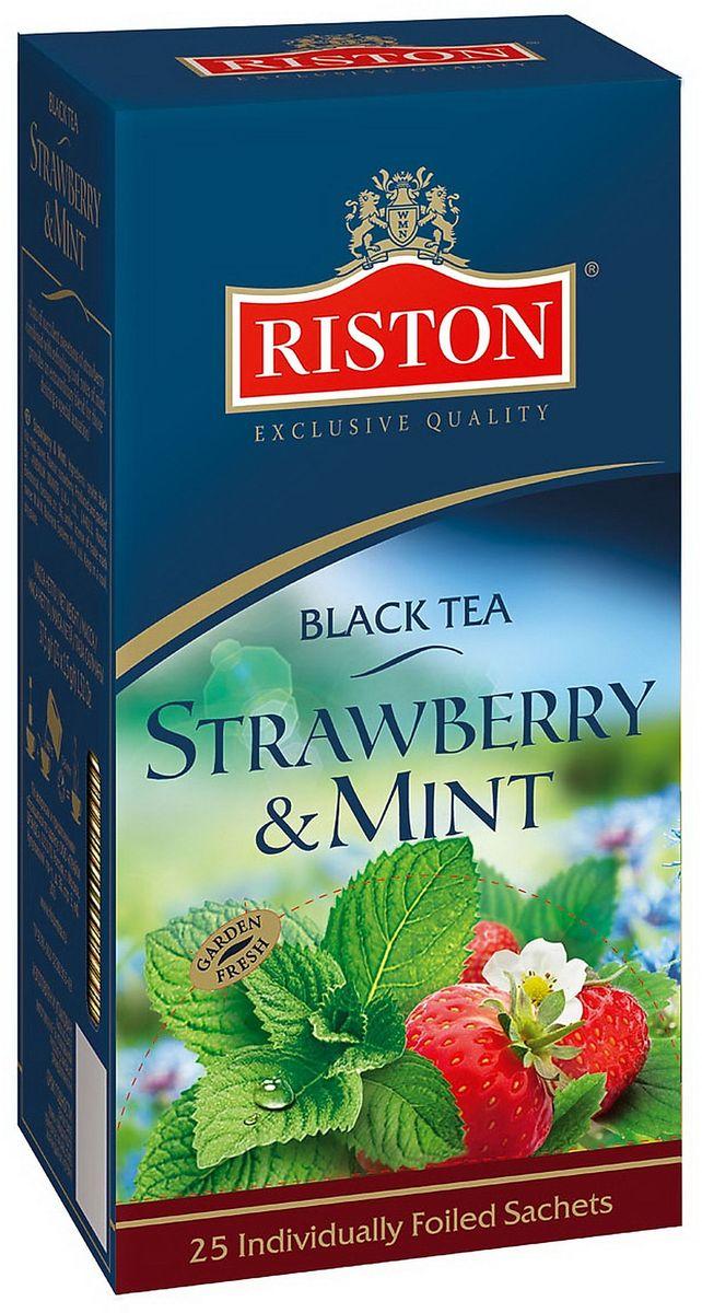Riston Клубника и Мята черный чай в пакетиках, 25 шт riston файнест цейлон черный чай в пакетиках 100 шт