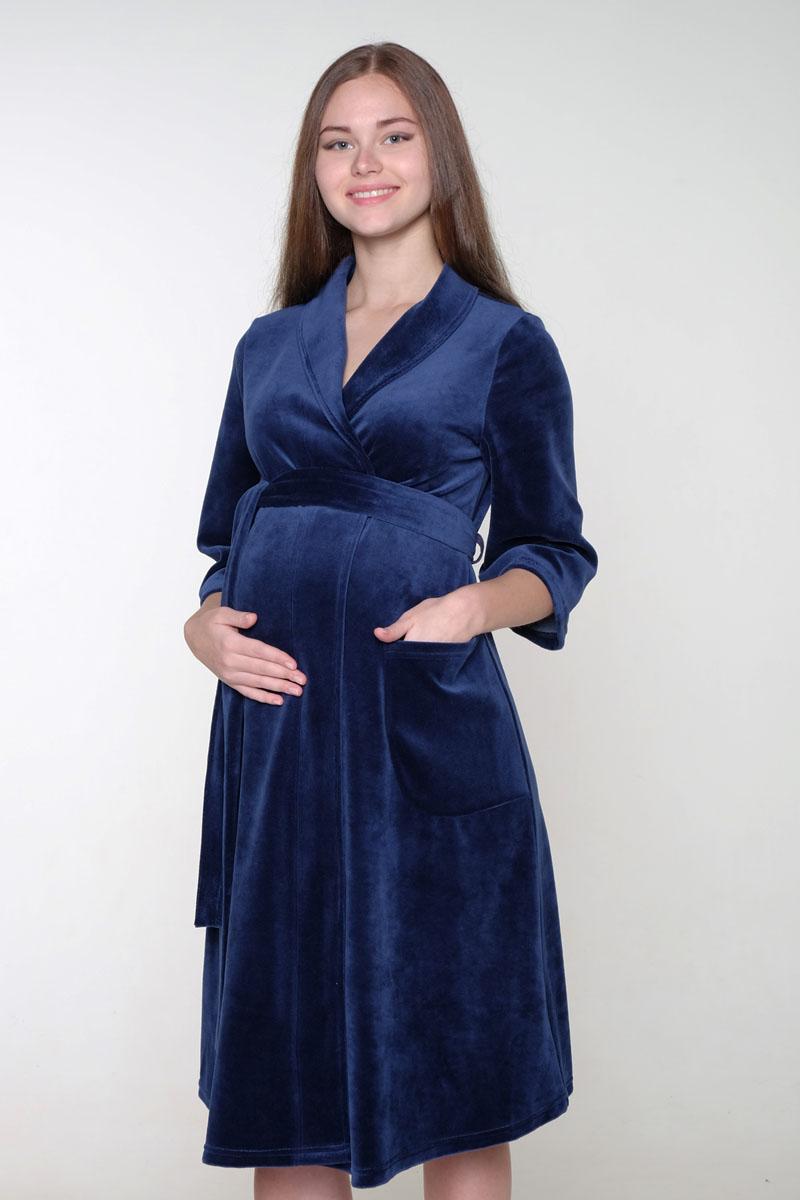 Халат для беременных и кормящих Hunny Mammy, цвет: темно-синий. 2-НМК 06007. Размер 422-НМК 06007Уютный, нежный халат для беременных и кормящих с рукавами длиной 3/4. Для любительниц классики: халат на запах из смесового полотна с оригинальным воротником-шалькой.