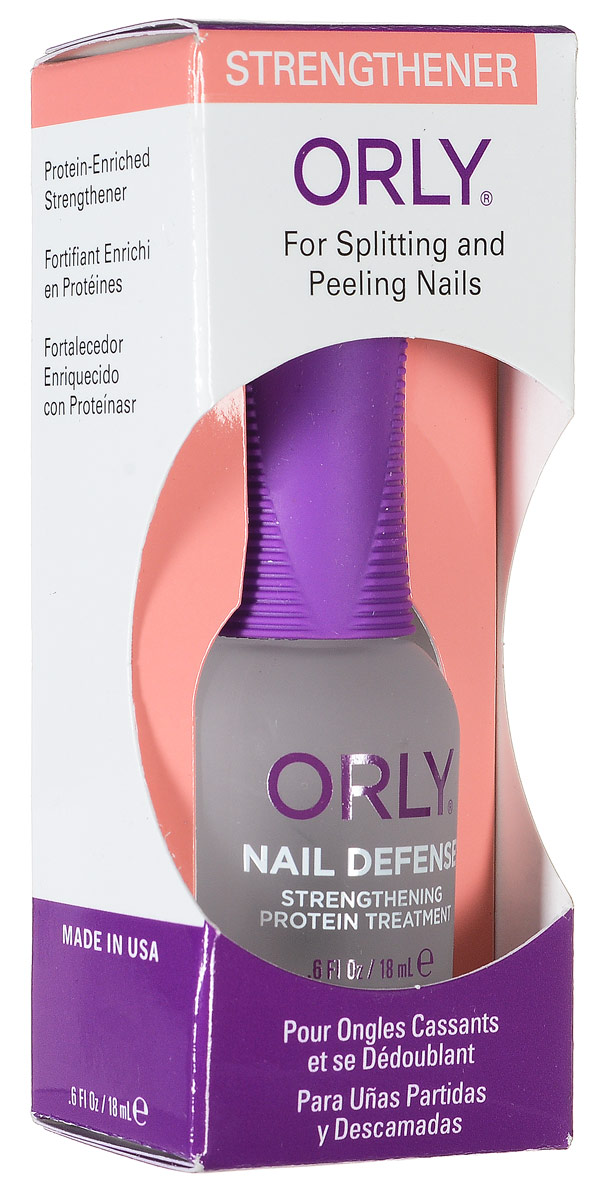 Orly Покрытие для слоящихся ногтей Nail Defense, 18 мл24420Обогащенная белком формула покрытия Orly Nail Defense обеспечивает защиту и укрепление ногтевой пластины. Стимулирует рост крепких ногтей, предотвращая их расслаивание. Протеин, который входит в состав препарата, осуществляет склеивание чешуек ногтей между собой, а также запечатывание свободного края для предотвращения его расслаивания.Способ применения: если ногти слоятся очень сильно, то первые 2 недели наносить через день послойно. В дальнейшем использовать как базу и верхнее покрытие в течение 2-3 месяцев. Характеристики:Объем: 18 мл. Артикул: 44420. Производитель: США. Товар сертифицирован.Состав: этилацетат, бутилацетат, нитроцеллюлоза, SDА-40В, гептан, изопропил, пропилацетат, гликолевый сополимер, этилтосиламид, триметил пентанил диизобутират, камфара, бензофенон-1, диметикон, поливинил бутирал, токоферил ацетат (витамин А), сафлоровое масло, экстракт мелиссы, экстракт конского каштана, экстракт ромашки, пантофенат кальция, гидролизованный протеин пшеницы, краситель.