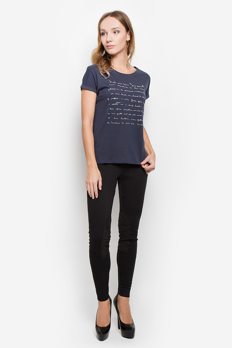 Футболка женская Broadway, цвет: темно-синий. 10156651. Размер M (46)10156651_52BЖенская футболка Broadway, выполненная из высококачественного хлопка, станет отличным дополнением к вашему гардеробу. Материал изделия очень мягкий, тактильно приятный.Футболка с короткими цельнокроеными рукавами имеет круглый вырез горловины. Однотонная модель оформлена принтом в виде надписей. Лаконичный дизайн и совершенство стиля подчеркнут вашу индивидуальность.