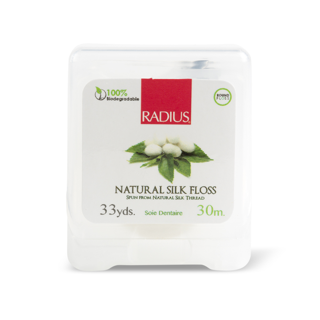 Radius, Натуральная шелковая зубная нить/Natural silk Floss, 30м зубная нить plackers 48 kid s