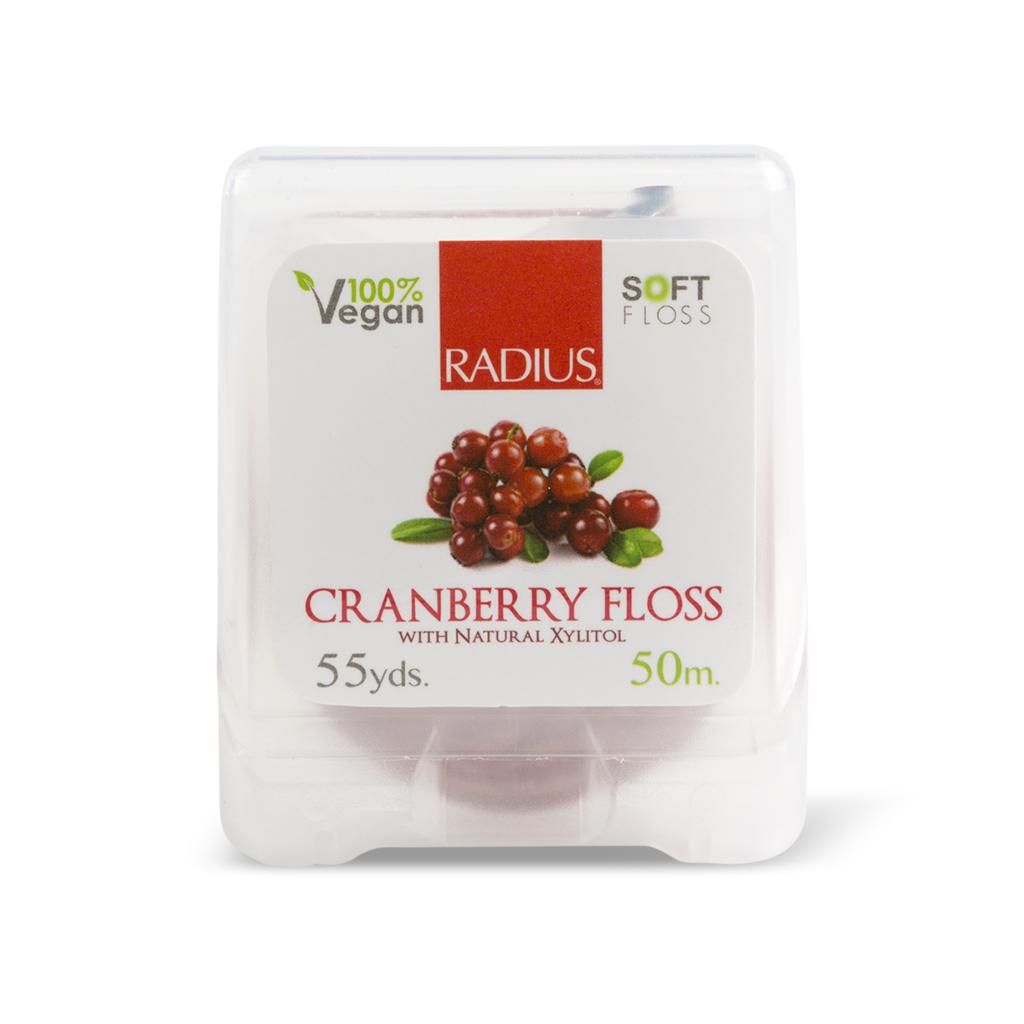 Radius, Натуральная шелковая зубная нить со вкусом клюквы/Natural silk Granberry Floss,50м зубные щетки radius щетка зубная