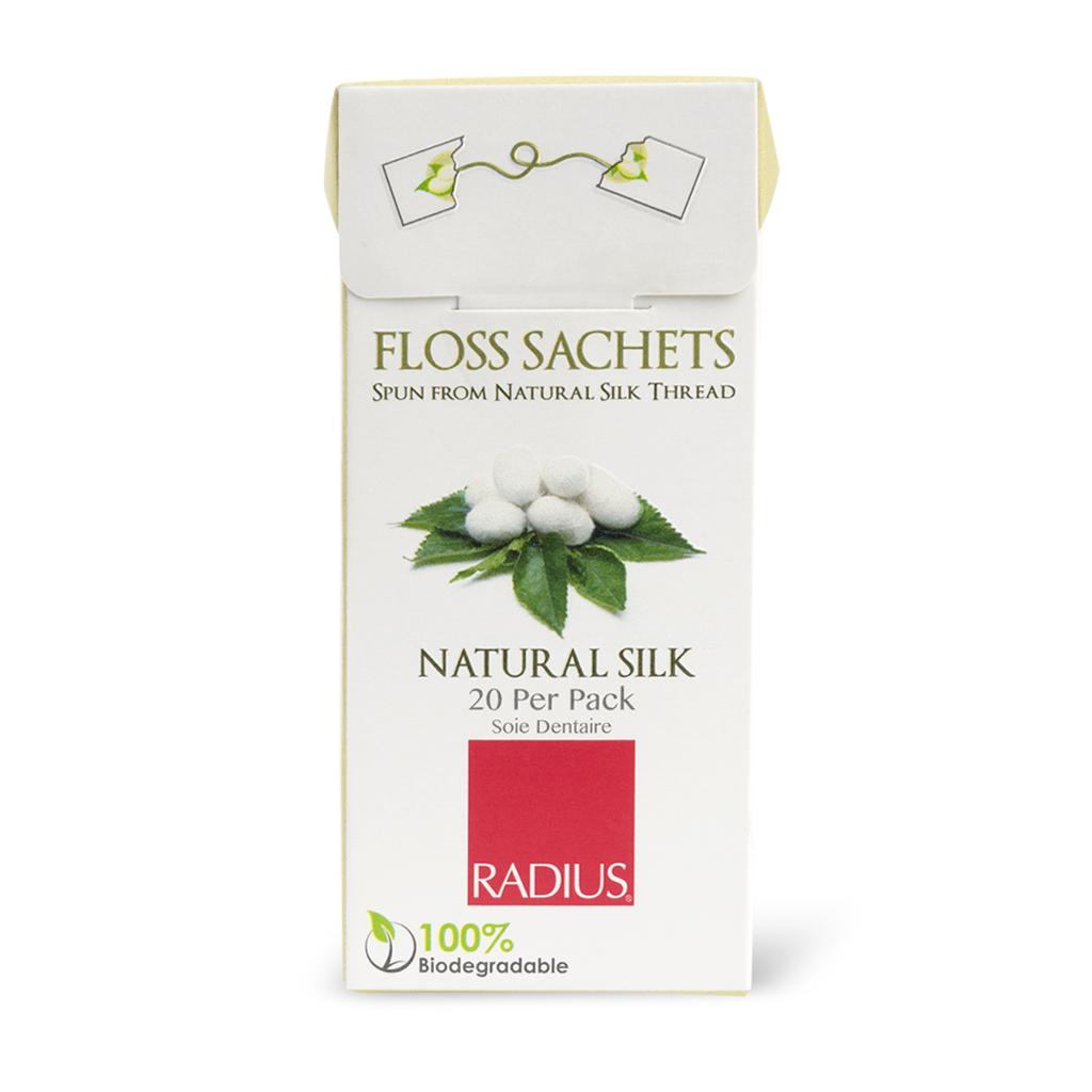 Radius, Натуральная шелковая зубная нить/Natural silk Floss, 20 пакетиков radius зубная щетка