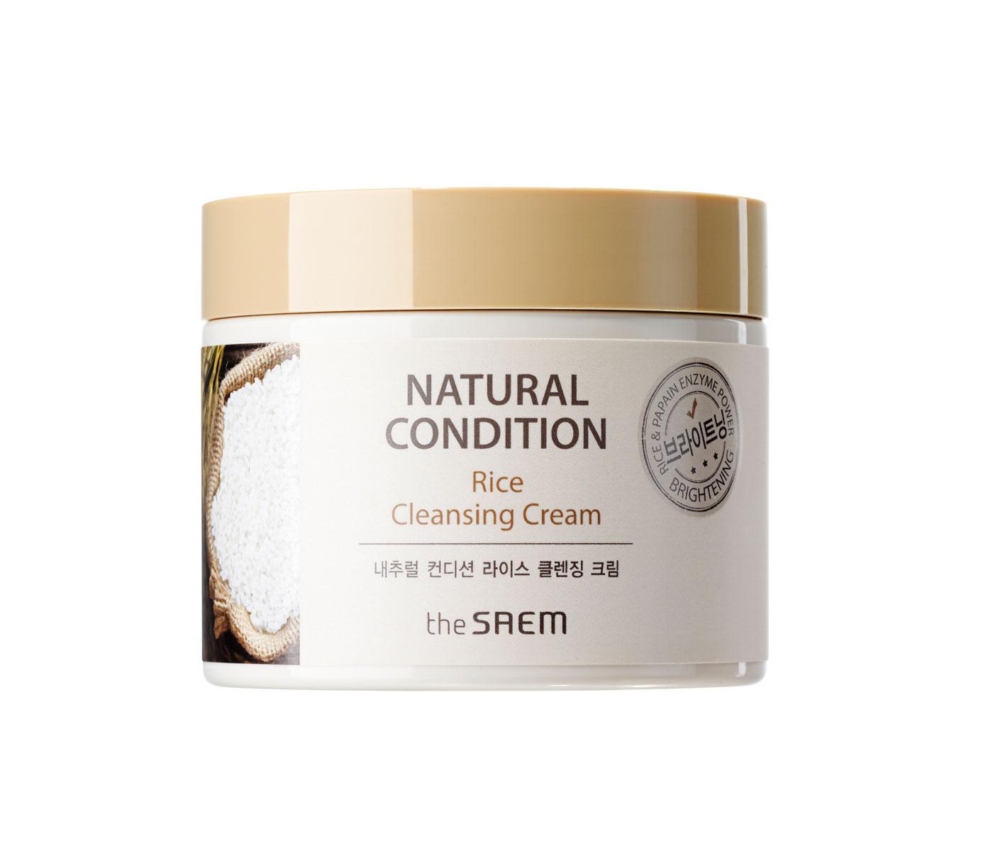 The Saem Крем очищающий рисовый Natural Condition Rice Cleansing Cream, 300 млСМ7330Очищающее средство, создано для качественного удаления стойкого макияжа, а также восстанавливает кожу, насыщает её необходимым количеством влаги, активно питает, кожа вновь становится мягкой и гладкой, эластичной, шелковистой. Главный компонент данного крема – Rice (рис) – осветляет кожу, питает её, поддерживает жизненные силы, абсорбирует кожный жир, устраняет жирный блеск.Быстро и легко проникает в клетки кожи, благодаря текучей, тающей текстуре, удаляет загрязнения, очищает поры. В составе средства отсутствуют парабены, тальк, смолы, сульфаты, бензофенон, триэтаноламин, пропиленгликоль.Объем: 300мл
